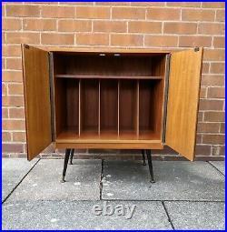 Mid century teak record vinyl cabinet atomic legs vintage retro