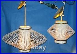PAIR Atomic Ranch Mid Century Modern Metal Pendant Swag Lamp Saucer Light