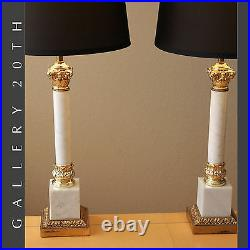 PAIR FREDERICK COOPER COLUMN MARBLE LAMPS! MID CENTURY MODERN ATOMIC AGE 50s 60s