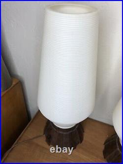 PAIR Vintage MCM Mid Century Beehive Lamps Atomic