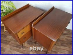Pair Of Vintage 60's Lebus Teak Drawers Bedside Mid-Century Atomic Retro