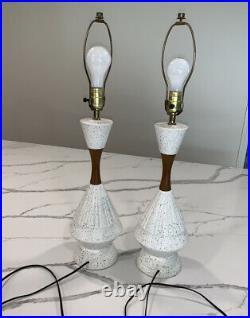 Pair of Mid Century Modern Speckle Glaze Walnut Lamps Danish Atomic RETRO Mod