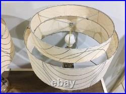 Pair of Mid Century Vintage Style 2 Tier Fiberglass Lamp Shades Atomic Ivory/SLV