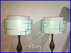 Pair of Mid Century Vintage Style 2 Tier Fiberglass Lamp Shades Atomic SF