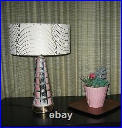 Pair of Mid Century Vintage Style Fiberglass Lamp Shades Modern Atomic Ivory
