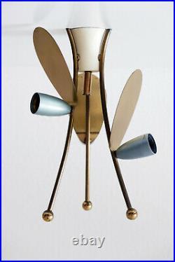 RARE Mid Century Modern SPUTNIK Atomic 3-ARMED Ceiling Lamp or FLUSH MOUNT 1950s