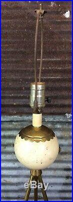 RARE Vtg 50s 60s Mid Century Modern Atomic Era Tripod Gold Table Lamp 24 MCM