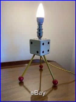 Rare Atomic Space Age Tripod Dice Table Lamp Mid Century Original Rewired