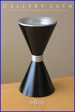 Rare! MID Century Modern Atomic Planter! Vtg Bullet Kimball 1950's Black Ashtray