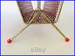 Rare Mid Century Set in Red Umbrella Stand Magazine Rack Coat Rack Atomic 50s