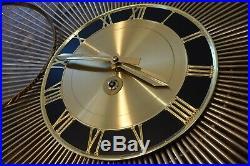 Rare Rensie Vintage Starburst Mid Century Atomic Wind Up Clock Germany