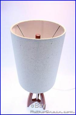Retro Grain Table Lamp Danish Modern Atomic Mid-Century Red Padauk Wood