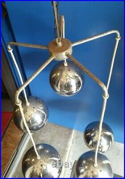Retro Mid Century Modern Atomic 5 Tier Chrome Orbs Swag Hanging Lamp Light