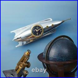 Rocket Wall Clock Polished Aluminum Solid Brass Iconic Atomic Age