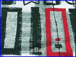 SALE 3-YDS Mid Century Atomic Tiki Barkcloth Vintage Fabric Yardage 30s Celadon