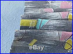 SALE Atomic Miami Beach Barkcloth Vintage Fabric Drape Curtain 50's Mid Century
