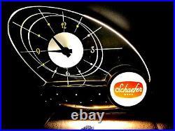 Schaefer Beer Atomic Sailboat Clock Light Table Lamp Vintage MID Century Modern