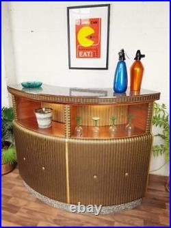 Stunning Vintage 1960's Curved Cocktail Bar Gold Vinyl & Teak Mid-Century Atomic