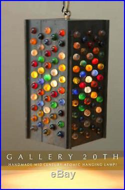 Sweet! MID Century Modern Marble Hanging Swag Lamp! 60s Handmade Atomic Colorful