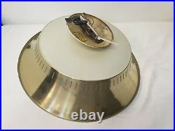 VIntage Mid century Modern Moe atomic flying saucer ceiling light Fixture Gold