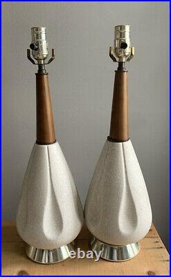 VTG MCM Table Lamp Ceramic Wood Atomic Genie Mid Century Mod Pair Of 2