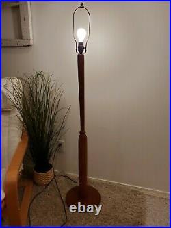 VTG Mid Century Atomic Teak Floor Lamp With Whip Stitch Shade MCM Swedish Light