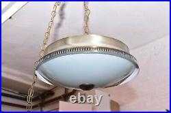 VTG Mid Century Modern Atomic UFO Flying Saucer Hanging Lamp Light Ceiling 18
