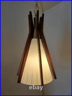 VTG Mid Century Modern John Virden Atomic Swag Ceiling Light Teak & Glass