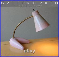 Very Rare! MID Century Modern Pink Boomerang Desk Lamp! Atomic Vtg 50s 60s Retro