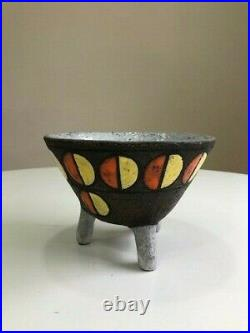 Very rare Bitossi Atomic Mid Century Footed bowls 1950's Aldo Londi