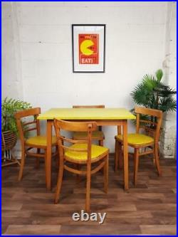 Vintage 1950's Yellow Formica Dining Table & 4 Chairs Mid-Century Atomic Diner