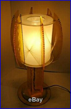 Vintage 1960 Vaseline Lucite / String ATOMIC Mid Century Modern Light Table Lamp