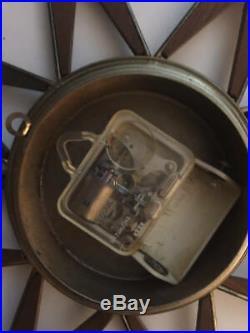 Vintage 1960s ELGIN STARBURST WALL CLOCK Teak Brass Works Mid Century Mod Atomic