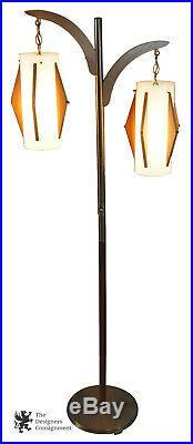Vintage 1960s Mid Century Modern Danish Floor Lamp Teak Brass Atomic Retro MCM
