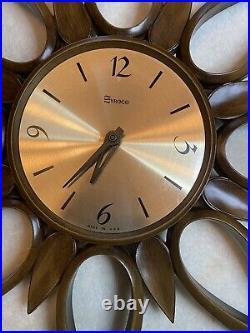 Vintage 1963 Syroco Atomic Starburst Wall Clock MCM Mid-Century Modern WORKS EUC