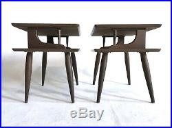 Vintage 2 Tier Walnut Wood Atomic End Table Nightstand Mid Century Danish Modern