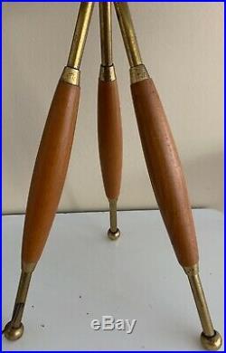 Vintage 60s Atomic Brass Wood Tripod Table Lamp Mid Century Modern Lightolier