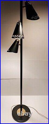 Vintage Atomic Mid Century Modern 3 Cone Star Burst Perforated Light Floor Lamp