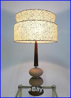 Vintage Atomic Sputnik Teak Diamond Danish Mid Century Modern Table Desk Lamp