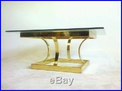 Vintage Baughman Mid Century Brass Cocktail Coffee Table Atomic Gold Mastercraft