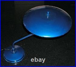 Vintage Blue Metallic Mid Century Atomic Flying Saucer Desk Lamp Art Speciality