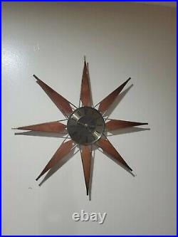 Vintage Elgin Teak 25 Mid Century Modern Atomic Sunburst Starburst Wall Clock