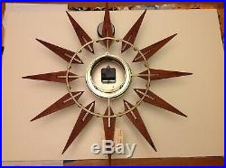Vintage Elgin Teak 26 Mid Century Modern Atomic Sunburst Starburst Wall Clock