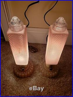 Vintage Funky Mid Century Pink Glass Atomic Rocket Phallic Boudoir Table Lamps