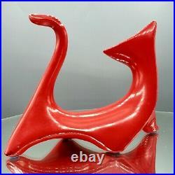 Vintage MCM Atomic RED Cubist Cat Rhinestone Eyes Figurine 50s JAPAN Mid Century