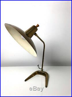 Vintage Mid Century Modern Brass Saucer Desk Lamp Atomic Thurston Lightolier Att