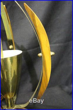 Vintage Mid Century Modern Danish Teak Wood & Brass Table Lamp 38 Eames Atomic