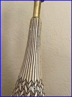 Vintage Mid Century Modern Genie Bottle Ceramic Brass Table Lamp Atomic Era