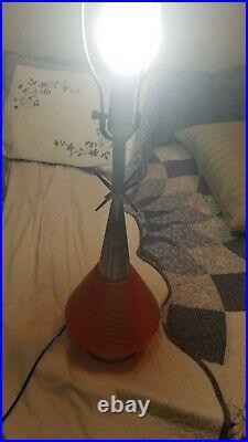Vintage Mid Century Modern Orange Gold Atomic Starburst Lamp needs rewiring