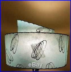 Vintage Mid Century Modern Two Tier Fiberglass LAMP SHADE Atomic Aqua 17